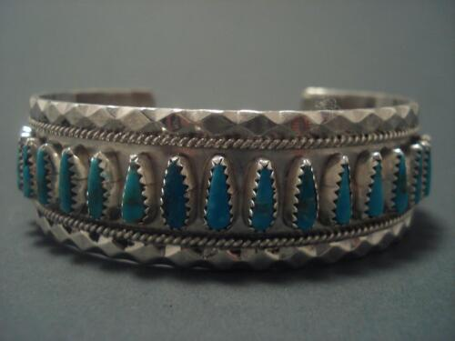 QUALITY Vintage Navajo PILOT MOUNTAIN TURQUOISE Silver Bracelet in Collectibles, Cultures & Ethnicities, Native American: US | eBay