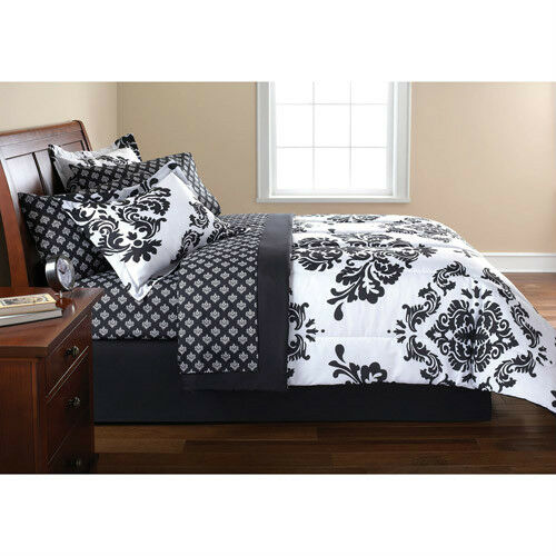 FRENCH DAMASK Black White QUEEN Bedding Comforter Set
