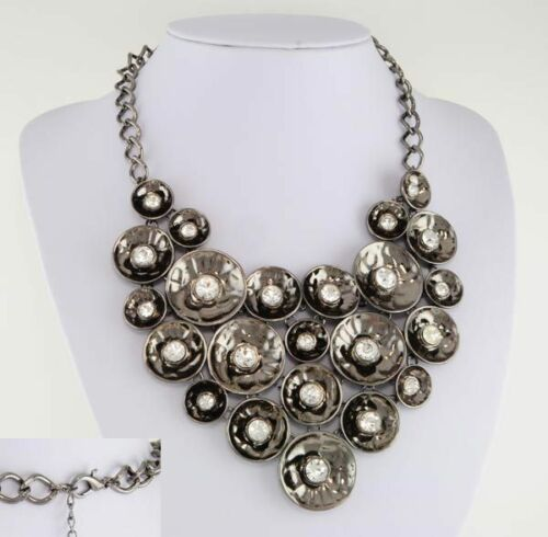 QVC Hematite Ep Hammered Bib Necklace w/ Austrian Crystal Sparkle in Jewelry & Watches, Fashion Jewelry, Necklaces & Pendants | eBay