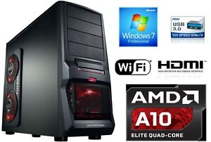 Quad-Core-Computer-gamer-a10-16gb-2tb-hdmi-PC-Rechner-Komplett-System-windows-7