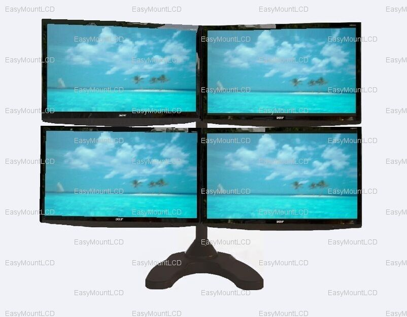 Quad/Four LCD Monitor Stand Free Standing   up to 24
