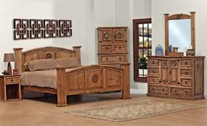 Queen Size Lone Star Bedroom Set Real Wood Custom Stain Free Shiping