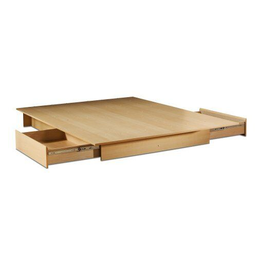 Queen Size Modern Platform Bed Frame wi 2 Under Bed Storage Drawers