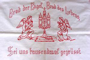 RAR-Antikes-Altartuch-Engel-Monstranz-Spruch-Monogramm-Hohlsaum-Stickerei