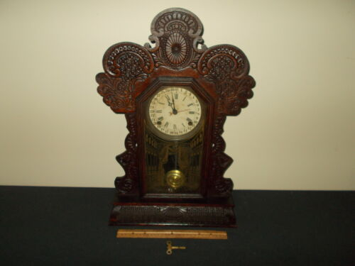 RARE ANTIQUE E.INGRAHAM&CO CARVED- PRESSED OAK CALENDAR MANTLE-SHELF CLOCK *NR* in Collectibles, Clocks, Antique (Pre-1930) | eBay