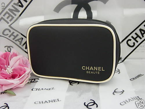 c73ed76218324e RARE CHANEL BEAUTE COSMETIC MAKEUP BAG CASE Black Gold BRAND NEW Limited  Edition | eBay