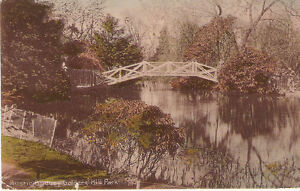 RARE-OLD-POSTCARD-RUSTIC-BRIDGE-GOLDERS-HILL-PARK-HAMPSTEAD-LONDON-1913