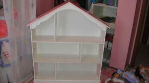 Rare Pottery Barn Kids Pink White Dollhouse Bookcase