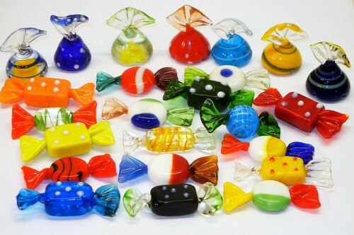 RARE Piece LOT 24 Murano GLASS Candies Christmas Venetian ORNAMENT Holiday Candy in Pottery & Glass, Glass, Art Glass | eBay