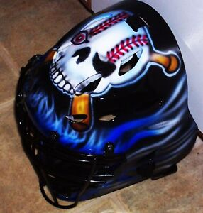 RAWLINGS ADULT CATCHERS HELMET AIRBRUSHED SKULL & BATS