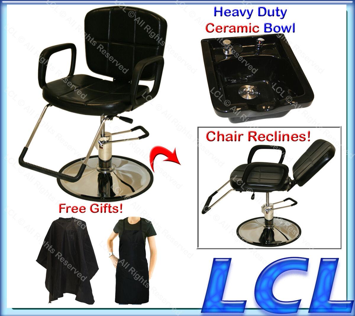 Reclining Hydraulic Barber Chair Ceramic Shampoo Bowl Sink Salon Hair Equipment