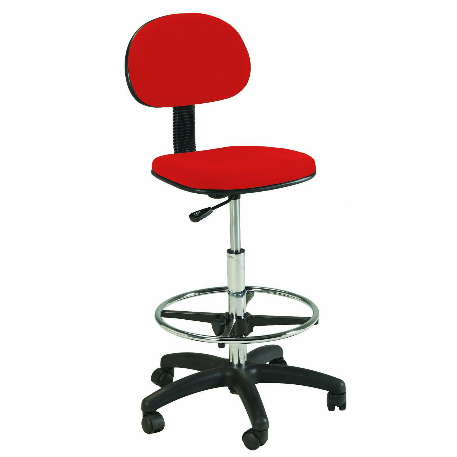 Red Counter Drafting Height Office Chair Stool