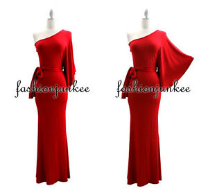 Shoulder Dress on Red Kimono Dress Long One Shoulder Belted Jersey Full Length Cocktail