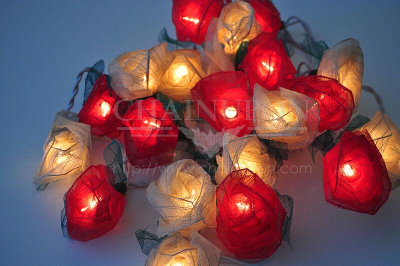 RED WHITE ROSE FLOWERS STRING HOME,INDOOR,BEDROOM,DECOR,FAIRY,GIFT,FLORAL LIGHTS eBay