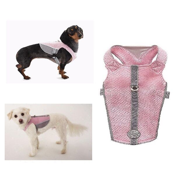 Reflective Breathable Mesh Harness For Dogs Pink Amp Gray