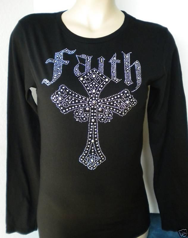RHINESTONE TOP FAITH CROSS LS T SHIRT S M L XL 2XL NEW
