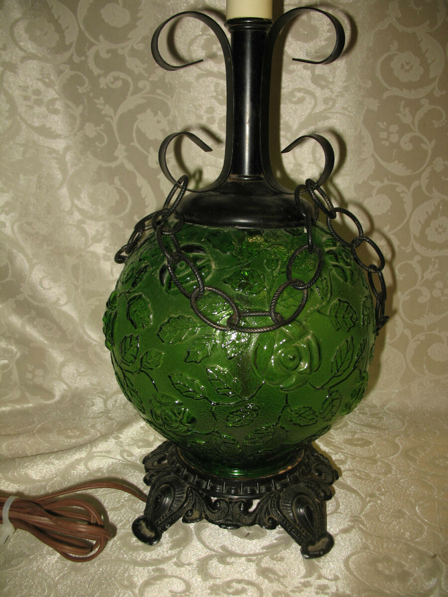 RICK BAR SALES Green Rose Glass Globe Chains Wrought Iron Mid Century