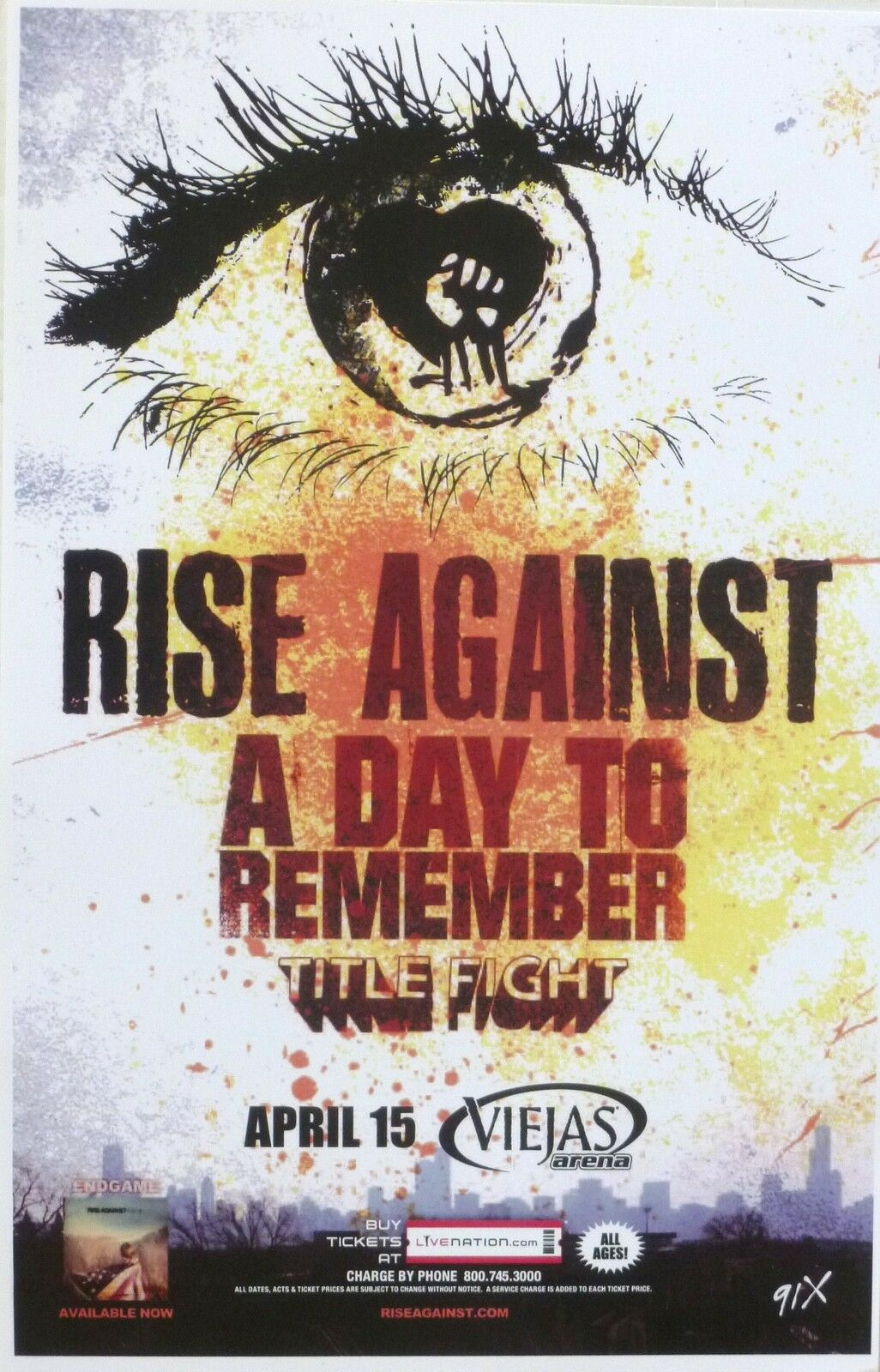 rise against a day to remember 2012 san diego concert tour poster punk rock ebay. Black Bedroom Furniture Sets. Home Design Ideas