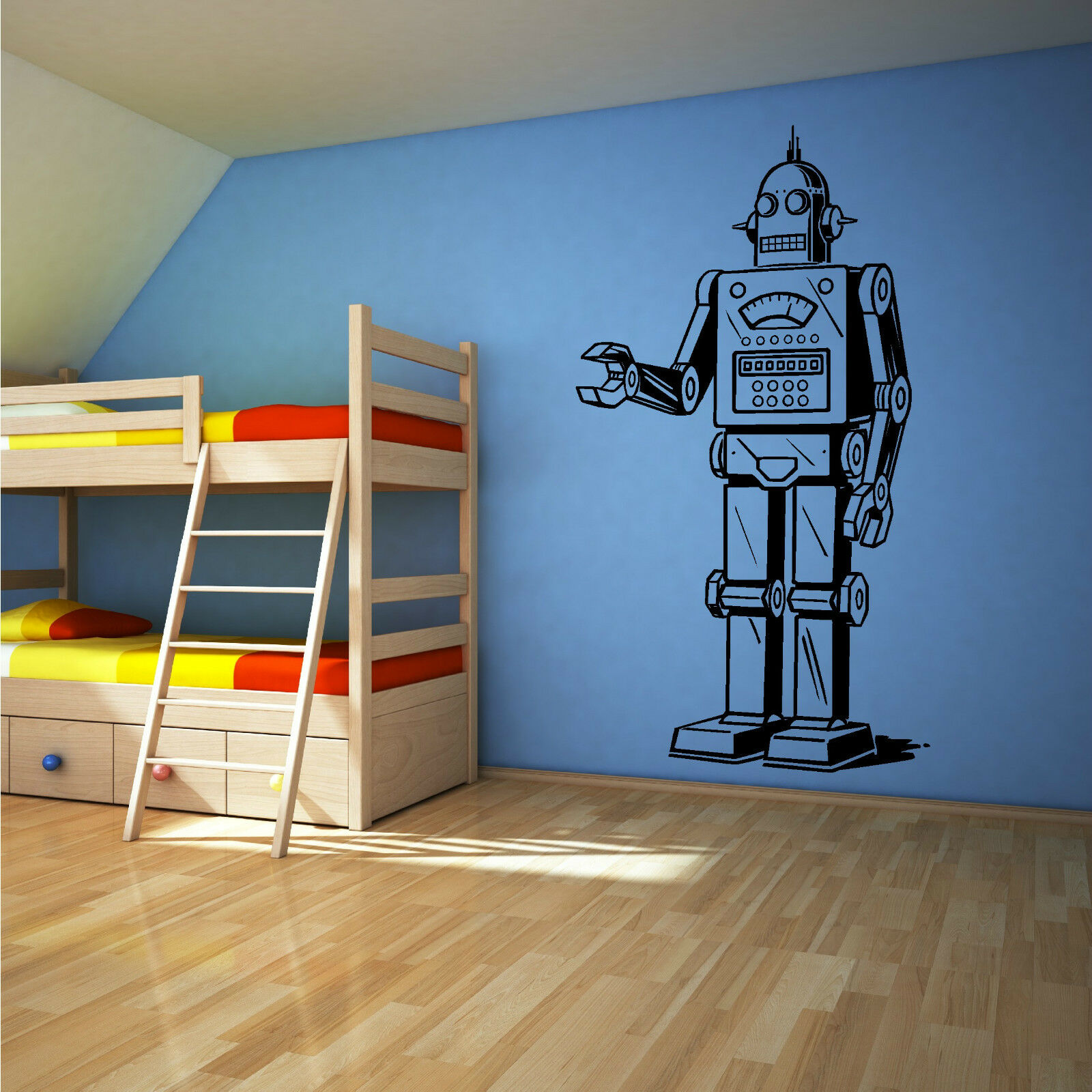 Robot vinyl wall art sticker decal boys bedroom childrens for Boys wall art