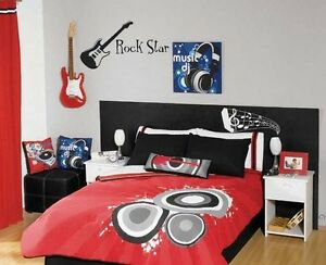 Rock Star Guitar Wall Decal Vinyl Sticker Music Band Bedroom Kids