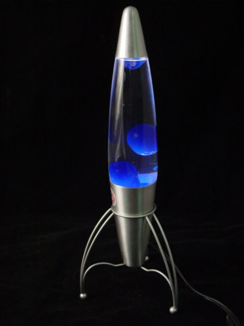 Rocket Lava Lamp 18 Blue Glow Motion Glitter Party Mood
