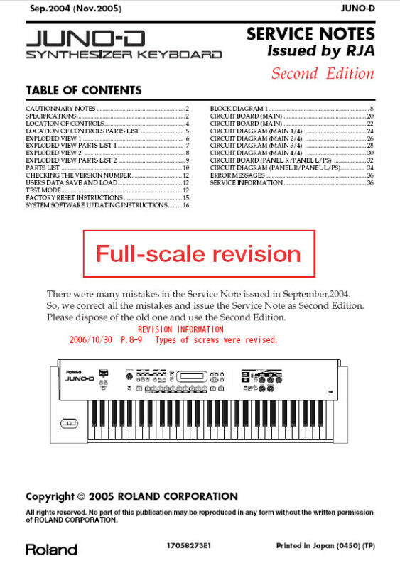 ROLAND JUNO D Repair / Service MANUAL ~ on PopScreen