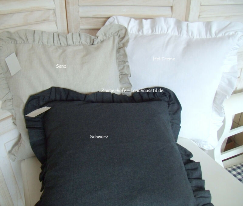 Details zu Kissenbezug ROMA Deko 45x45 creme sand schwarz wahlweise Shabby Chic Vintage