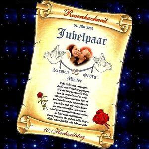 ... 10. Hochzeitstag - Urkunde Geschenk mit und ohne Foto möglich  eBay