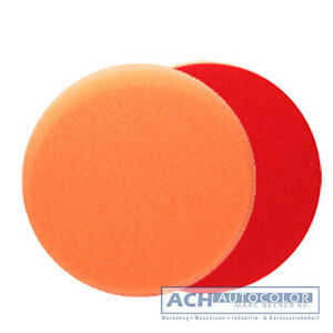 ROTWEISS-155x25mm-Polierscheibe-Polierpad-Polierschwamm-gerundet-hart-orange