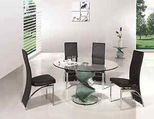 ROUND TWIRL GLASS DINING ROOM TABLE AND 6 CHAIRS SET FURNITURE IJ501 833 EBay