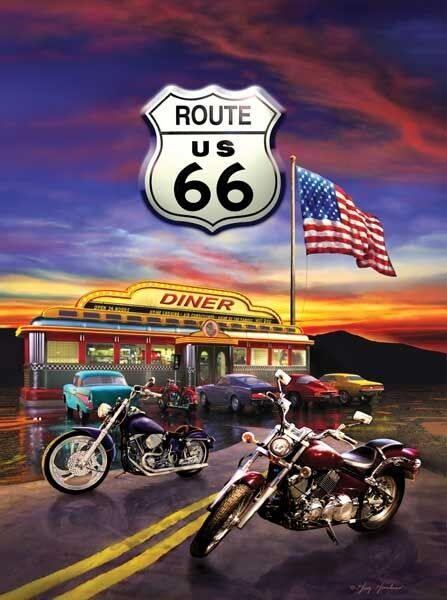 Route 66 Diner Harley Davidson Motorcycle 1000 PC Jigsaw Puzzle New Made in USA