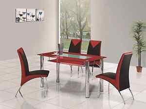 ROVIGO SMALL GLASS CHROME DINING ROOM TABLE AND 4 CHAIRS SET 105 Cm IJ614 8