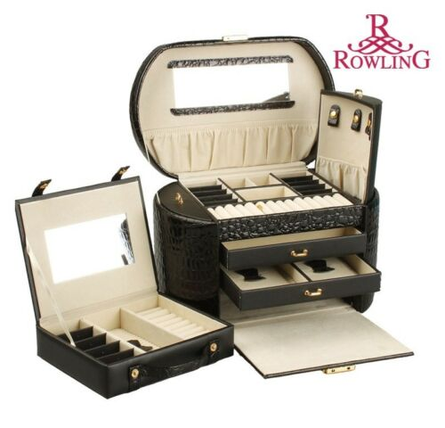 ROWLING Large Faux Leather Jewelry Case Storage Box Watch Box Cosmetic Case 152 in Jewelry & Watches, Jewelry Boxes & Organizers, Jewelry Boxes | eBay