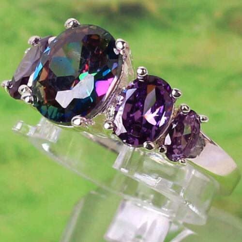 ROYAL MYSTIC RAINBOW TOPAZ & AMETHYST STERLING SILVER RING SIZE 6, 7, 8, 9 & 10 in Jewelry & Watches, Fine Jewelry, Fine Rings | eBay