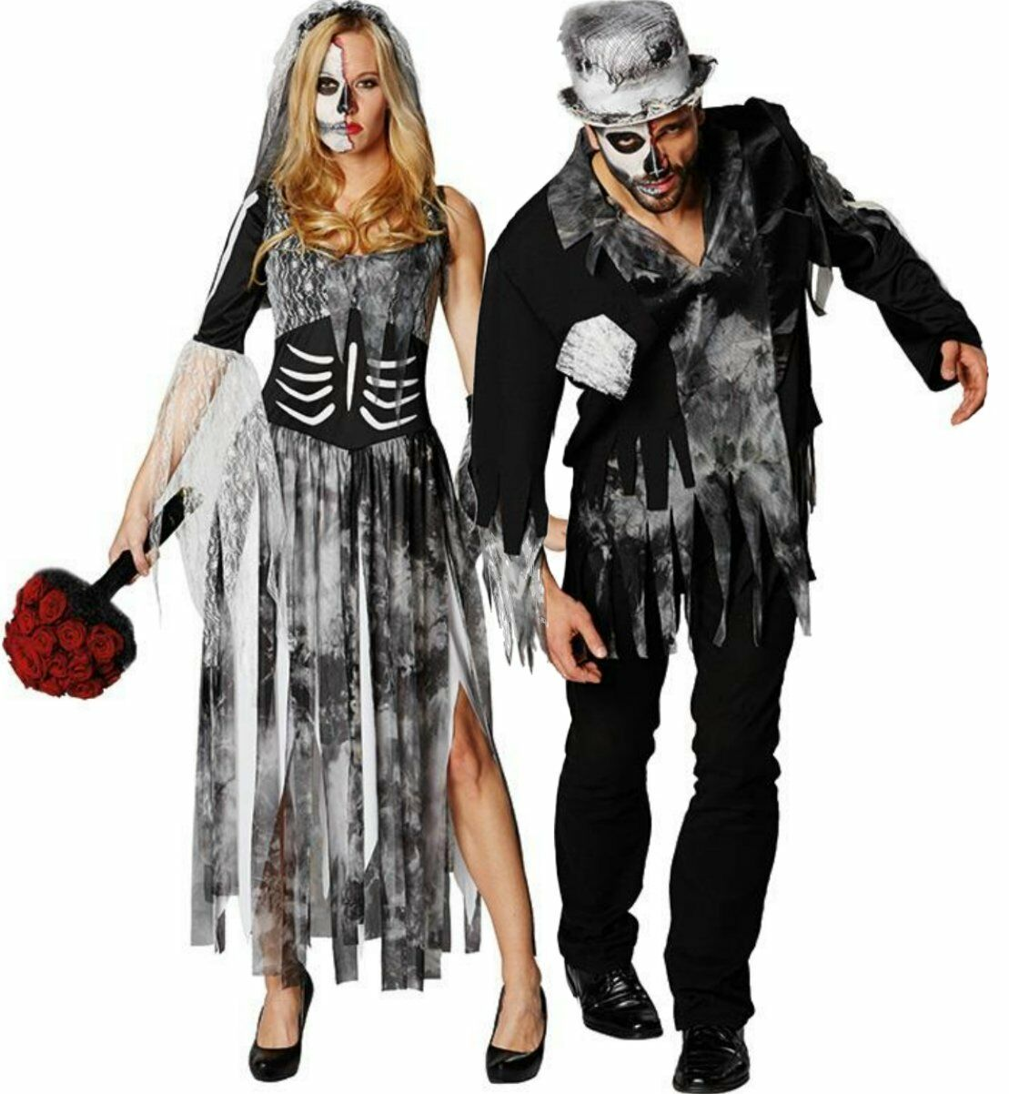 rub fasching karneval halloween kost m zombie braut br utigam horror untote ebay. Black Bedroom Furniture Sets. Home Design Ideas