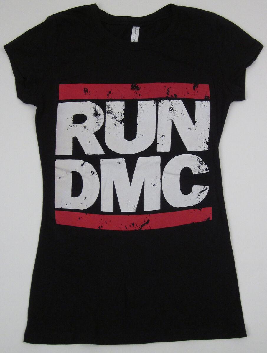 Run DMC JMJ T Shirt Jam Master Jay Rap Hip Hop Womens Juniors Slim Fit