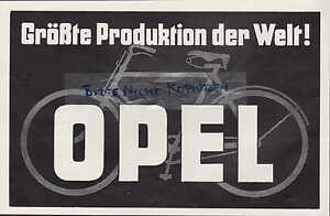 r sselsheim werbung 1928 automobil fabrik adam opel ag fahrrad produktion ebay. Black Bedroom Furniture Sets. Home Design Ideas