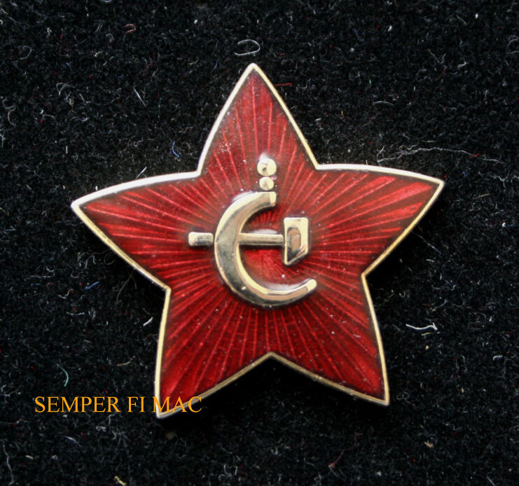8eb9544f46e RUSSIAN STAR HAT PIN WOW SOVIET UNION HAMMER CYCLE ARMY on PopScreen
