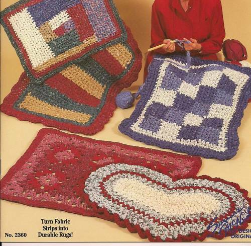 Rag Rug Crochet Patterns Granny Rugs Heart Patchwork Rectangle Star B