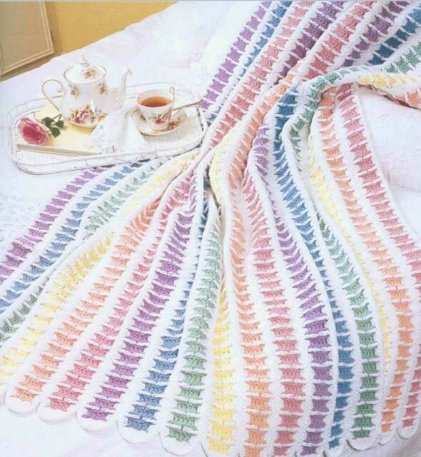 Pretty Crochet Patterns : Rainbow Dreams Pretty Afghan Throw Crochet Pattern