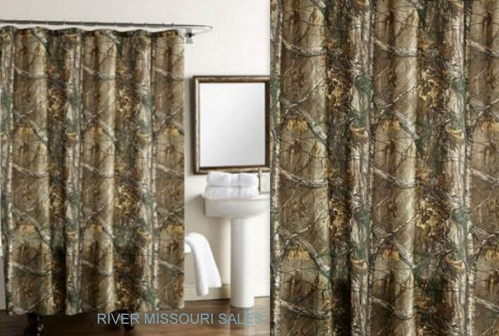 Shower Curtains: RealTree Xtra Green Camo Design Shower Curtain, Dimensions