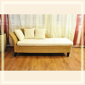 recamiere rattan sofa ottomane sitzgruppe sessel natur b185cm inkl auflagen hell ebay. Black Bedroom Furniture Sets. Home Design Ideas