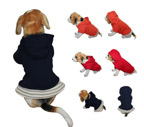 Red/Orange/Navy Blue Dog Clothes Casual Basic Dog Hoodie Pullover Clothing S/M/L in Pet Supplies, Dog Supplies, Apparel | eBay