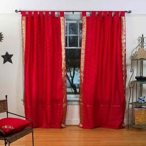 Details about Red Tab Top Sari Sheer Curtain Drape Panel India 84