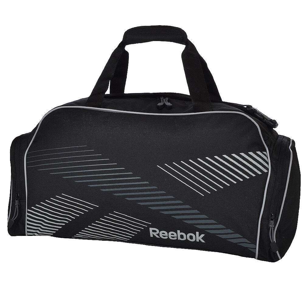Reebok Medium Sports Duffle Grip Holdall Gym Bag Black Gravel on ... 3373f52979bd0