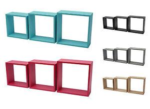 regal triple cube 3er wandregal b cherregal eiche ebenholz rosa blau grau ebay. Black Bedroom Furniture Sets. Home Design Ideas