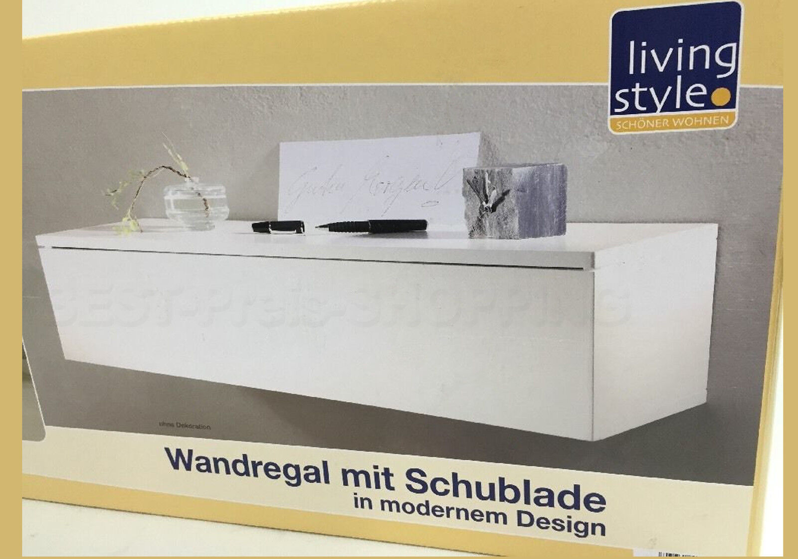 regal wandboard wandschublade konsole regal mit schublade weiss 60x23x15 cm neu ebay. Black Bedroom Furniture Sets. Home Design Ideas