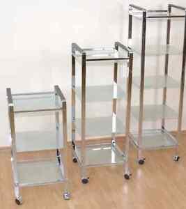 regal auf rollen metall glas 3 5 b den chrom rollbar standregal ebay. Black Bedroom Furniture Sets. Home Design Ideas