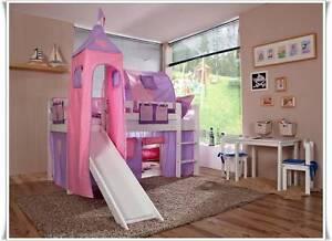 hochbett spielbett kinderbett mit rutsche und turm matraze vorhang weiss ci ebay. Black Bedroom Furniture Sets. Home Design Ideas