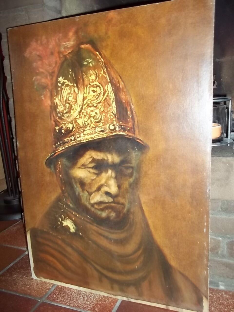 rembrandt der mann mit dem goldhelm l auf holz 71 51cm. Black Bedroom Furniture Sets. Home Design Ideas